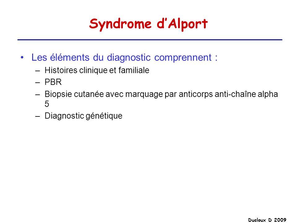 Syndrome d'Alport Les éléments du diagnostic comprennent :