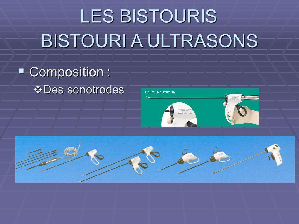 BISTOURI A ULTRASONS Composition : Des sonotrodes