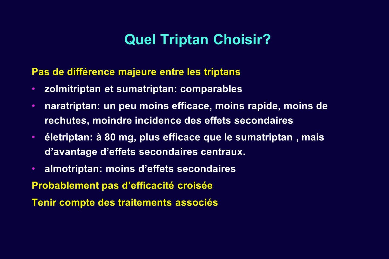 Quel Triptan Choisir Pas de différence majeure entre les triptans