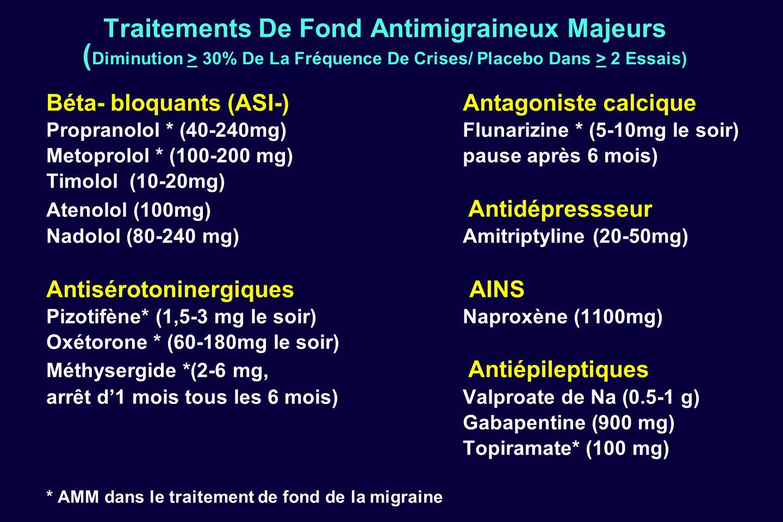 Traitements De Fond Antimigraineux Majeurs (Diminution > 30% De La Fréquence De Crises/ Placebo Dans > 2 Essais)