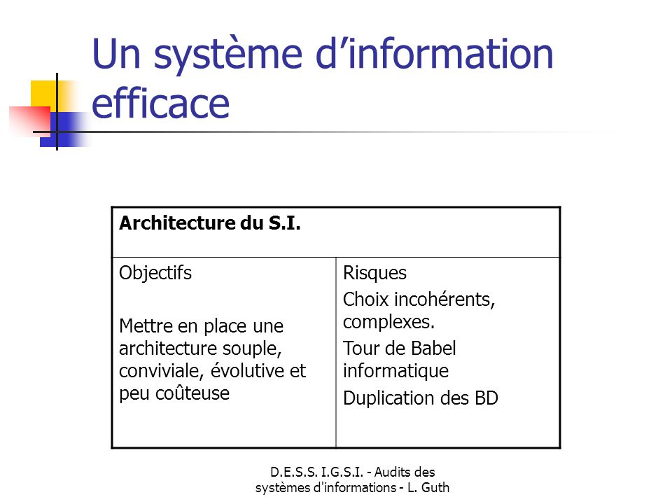 D.E.S.S. I.G.S.I. - Audits des systèmes d informations - L. Guth
