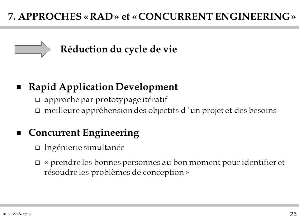 7. APPROCHES « RAD » et « CONCURRENT ENGINEERING »