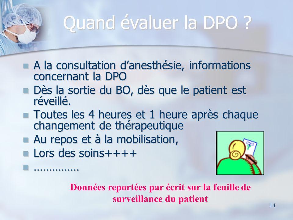 Données reportées par écrit sur la feuille de surveillance du patient