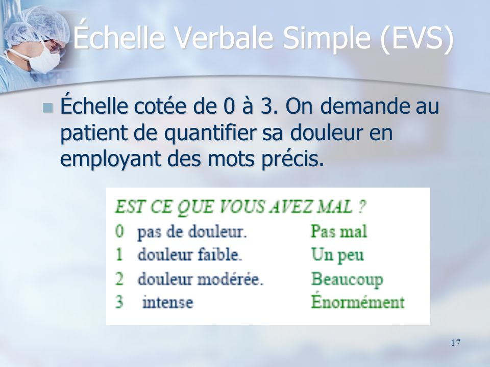 Échelle Verbale Simple (EVS)