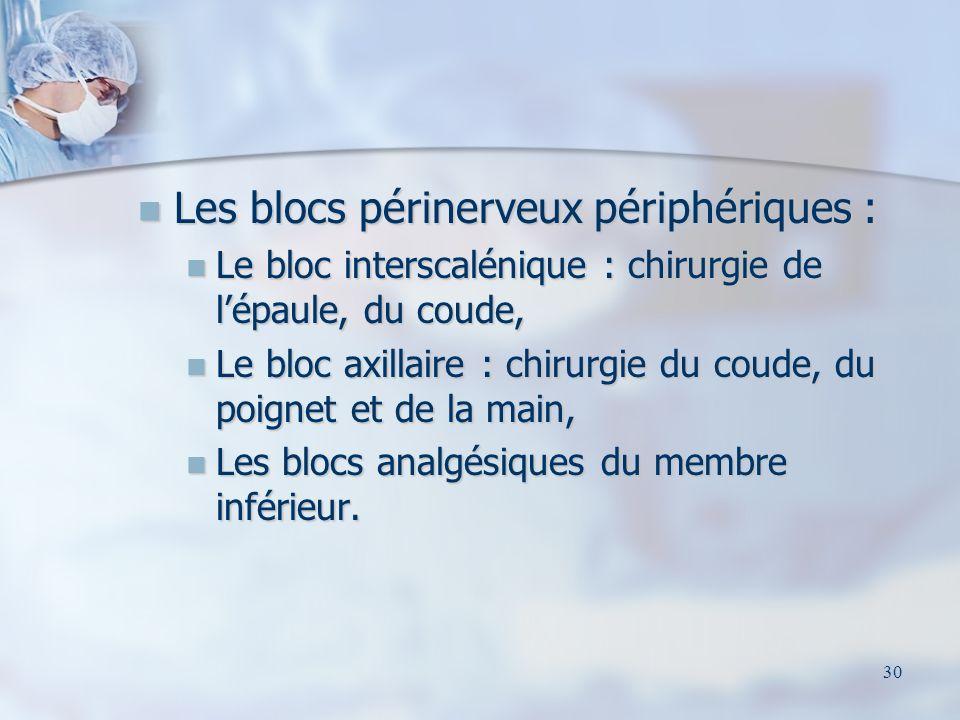 Les blocs périnerveux périphériques :