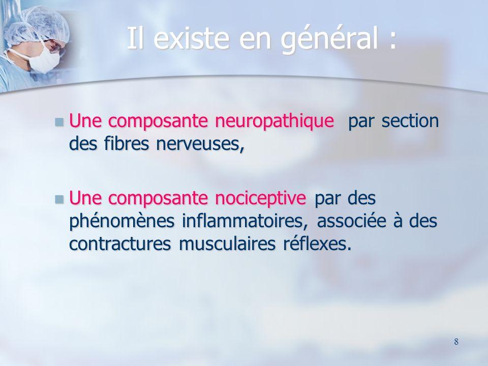 Il existe en général : Une composante neuropathique par section des fibres nerveuses,