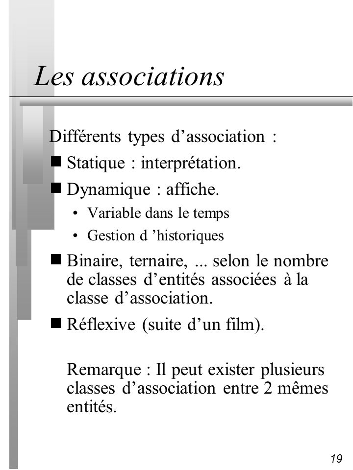 Les associations Différents types d'association :