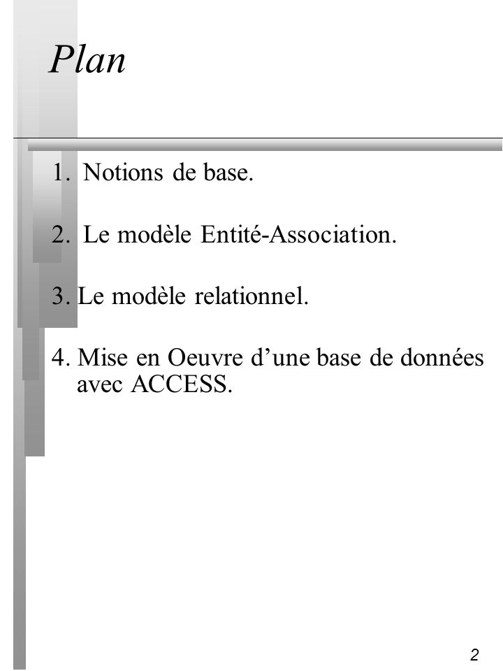 Plan 1. Notions de base. 2. Le modèle Entité-Association.