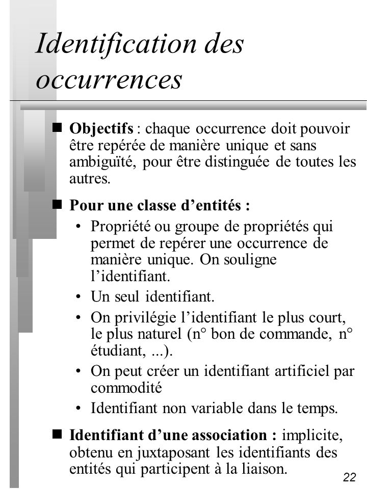 Identification des occurrences