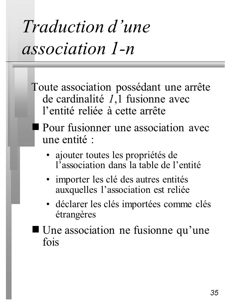 Traduction d'une association 1-n
