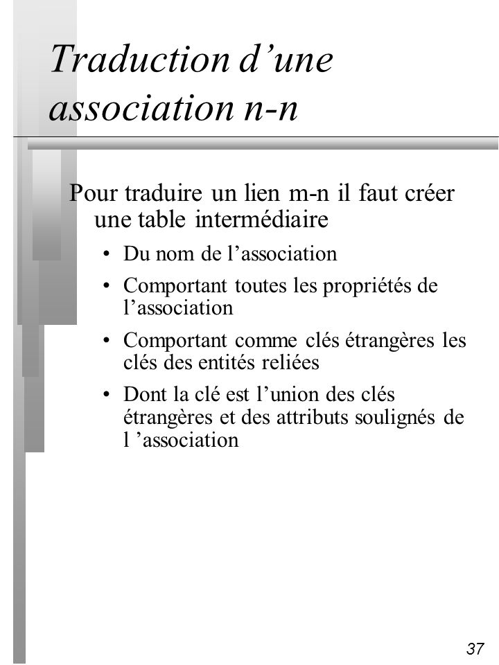 Traduction d'une association n-n