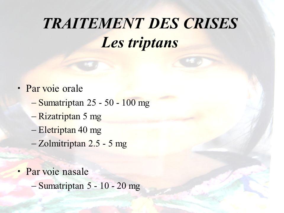 TRAITEMENT DES CRISES Les triptans