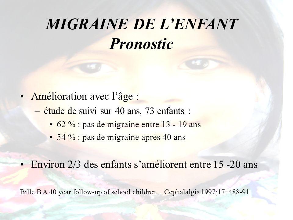 MIGRAINE DE L'ENFANT Pronostic