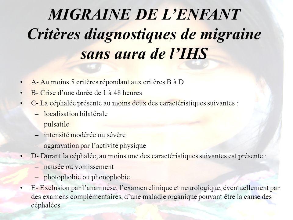MIGRAINE DE L'ENFANT Critères diagnostiques de migraine sans aura de l'IHS