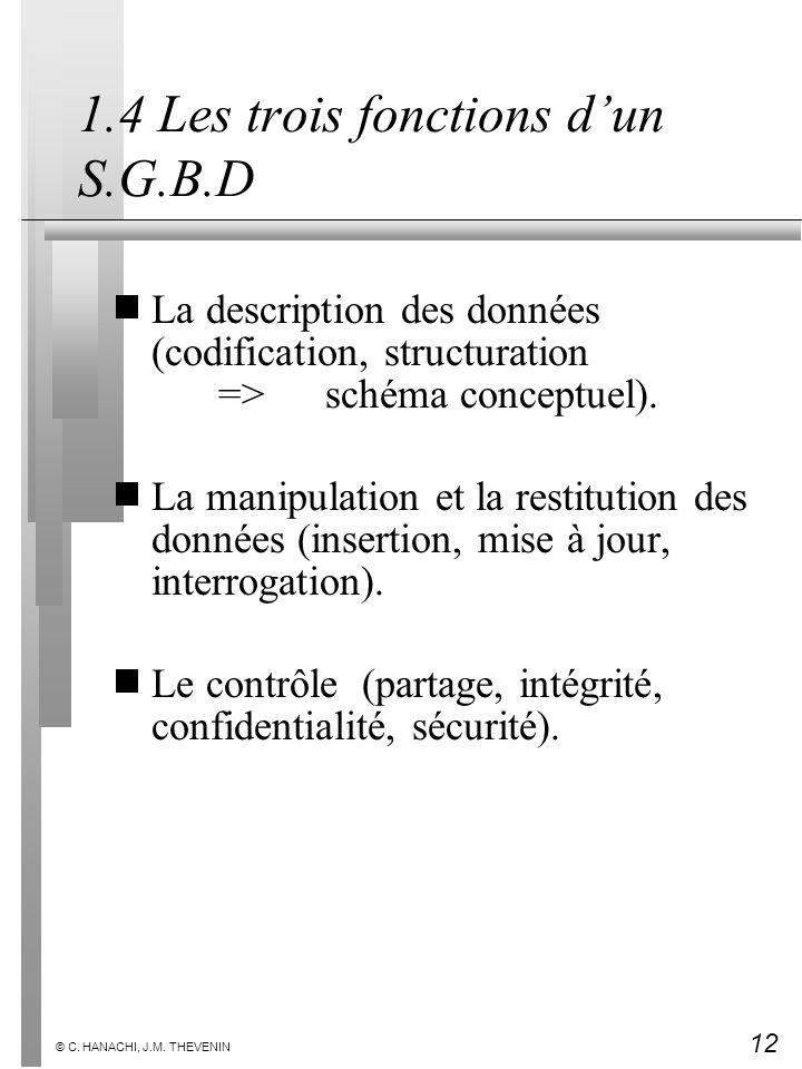 1.4 Les trois fonctions d'un S.G.B.D