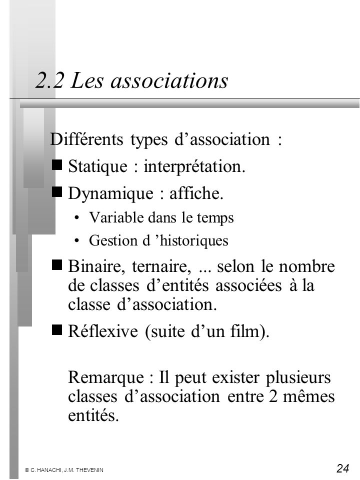 2.2 Les associations Différents types d'association :