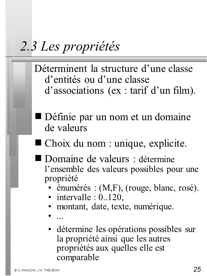 2.3 Les propriétés Déterminent la structure d'une classe d'entités ou d'une classe d'associations (ex : tarif d'un film).