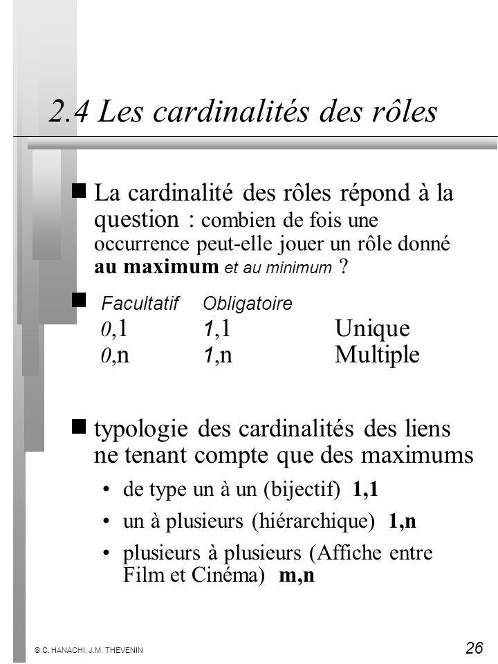 2.4 Les cardinalités des rôles