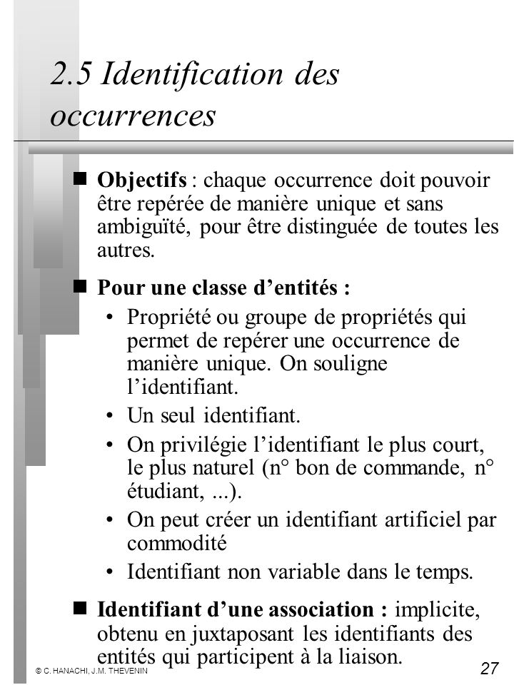 2.5 Identification des occurrences