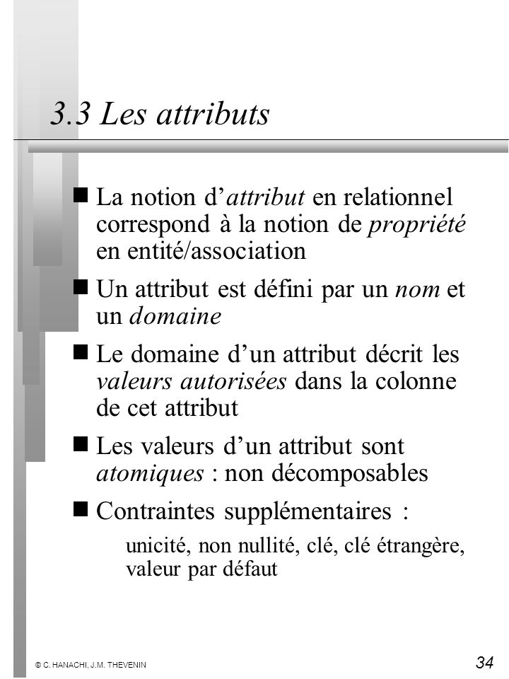3.3 Les attributs La notion d'attribut en relationnel correspond à la notion de propriété en entité/association.