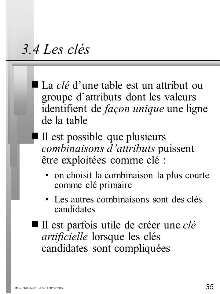 3.4 Les clés La clé d'une table est un attribut ou groupe d'attributs dont les valeurs identifient de façon unique une ligne de la table.