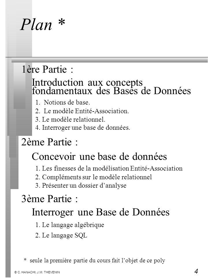 Plan * 1ère Partie : Introduction aux concepts fondamentaux des Bases de Données. 1. Notions de base.
