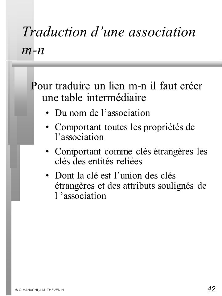 Traduction d'une association m-n