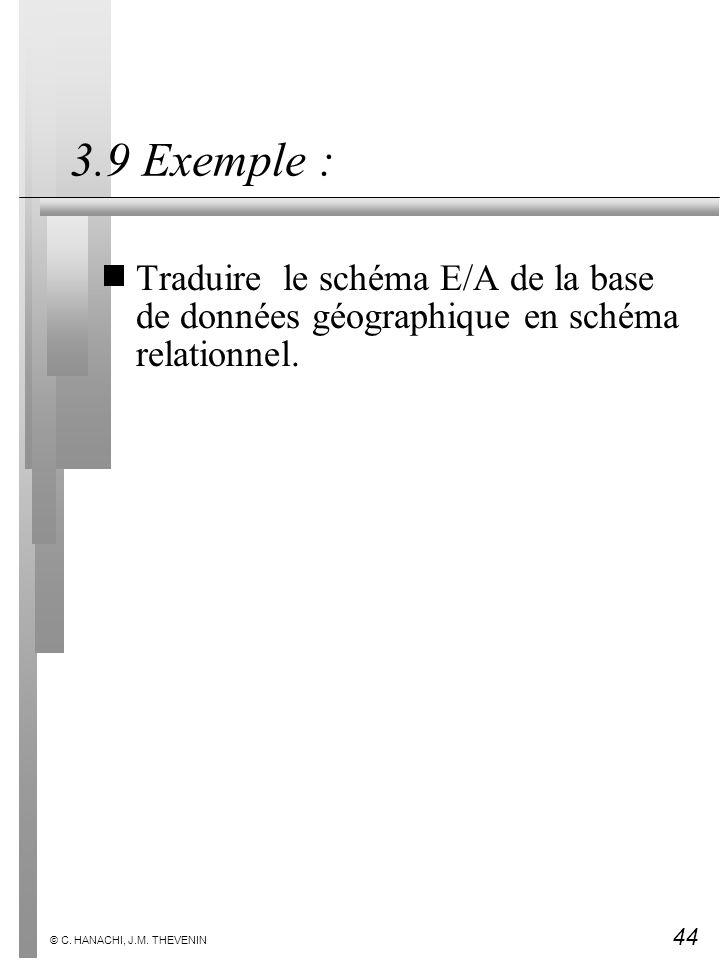 3.9 Exemple : Traduire le schéma E/A de la base de données géographique en schéma relationnel.