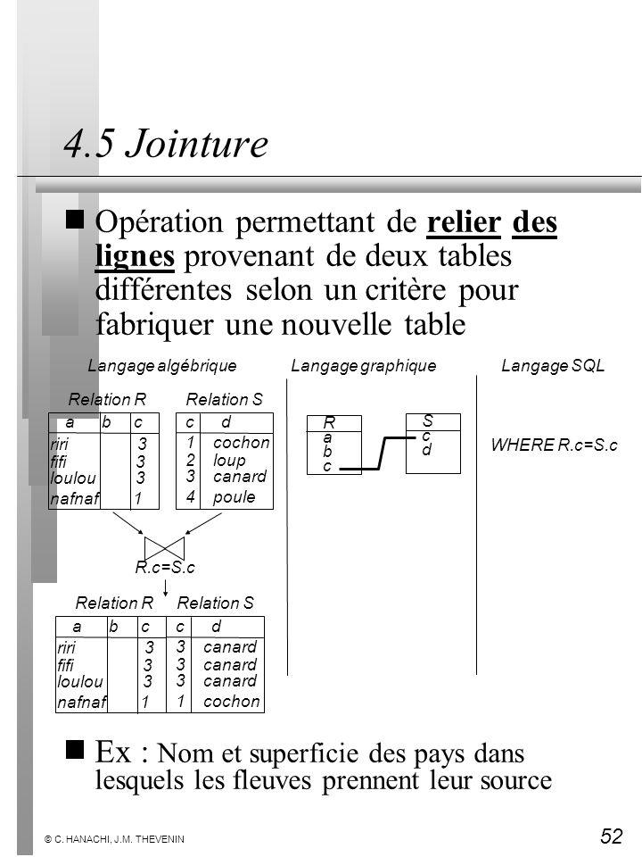4.5 Jointure Opération permettant de relier des lignes provenant de deux tables différentes selon un critère pour fabriquer une nouvelle table.
