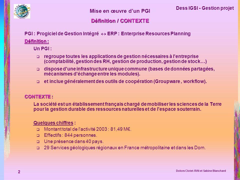 Définition / CONTEXTE PGI : Progiciel de Gestion Intégré  ERP : Enterprise Resources Planning. Définition :
