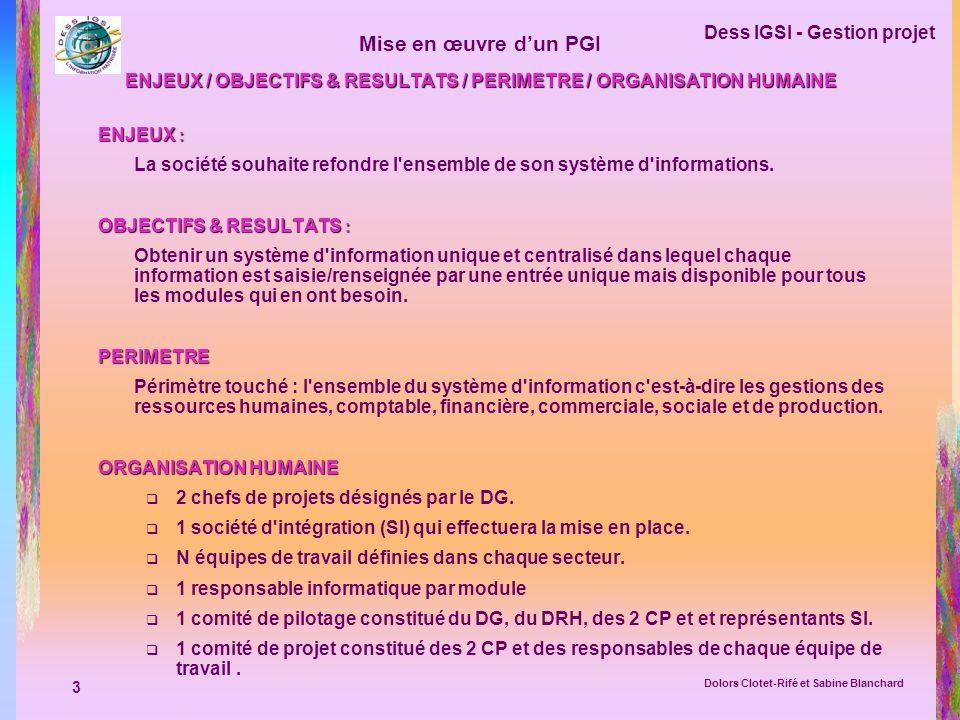 ENJEUX / OBJECTIFS & RESULTATS / PERIMETRE / ORGANISATION HUMAINE