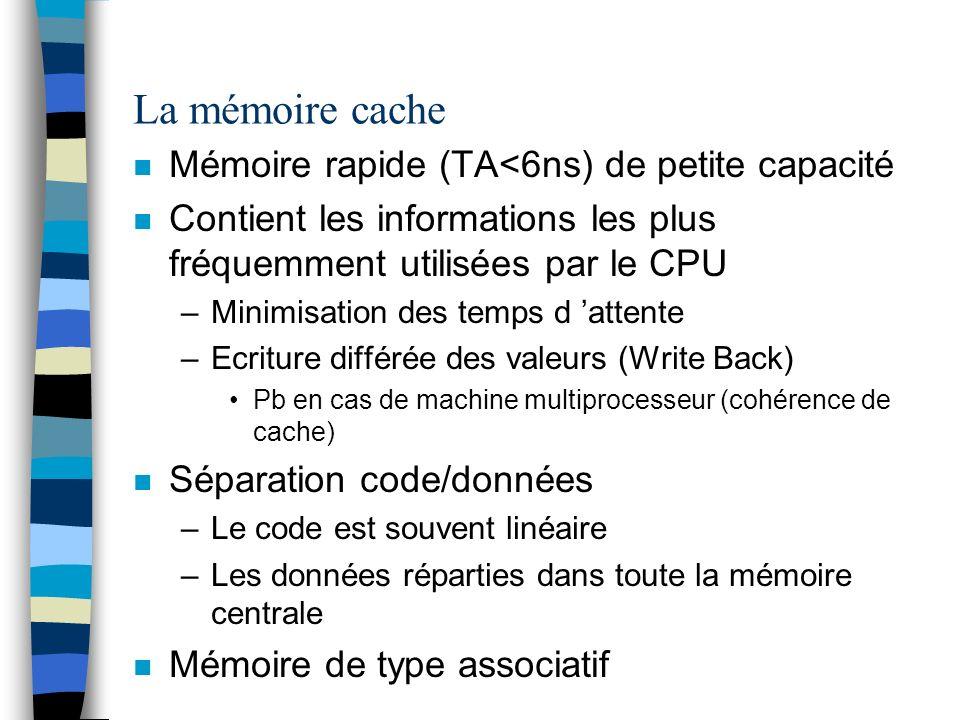 La mémoire cache Mémoire rapide (TA<6ns) de petite capacité