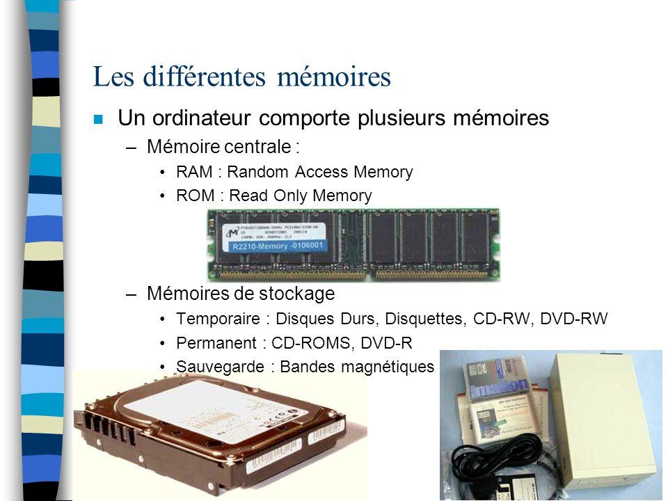 Les différentes mémoires
