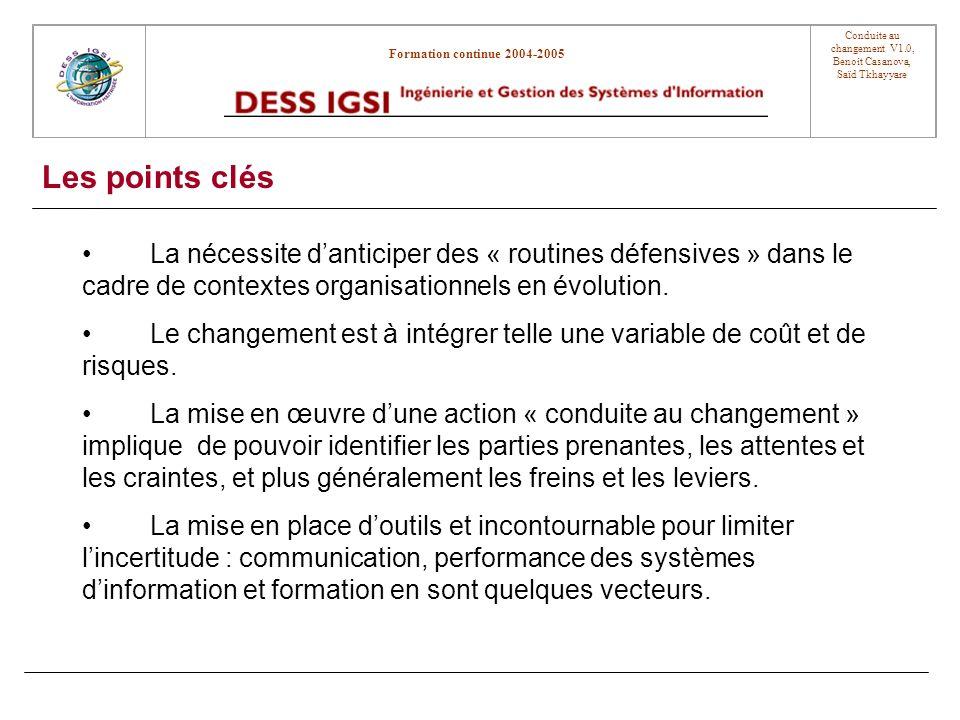 Les points clés La nécessite d'anticiper des « routines défensives » dans le cadre de contextes organisationnels en évolution.