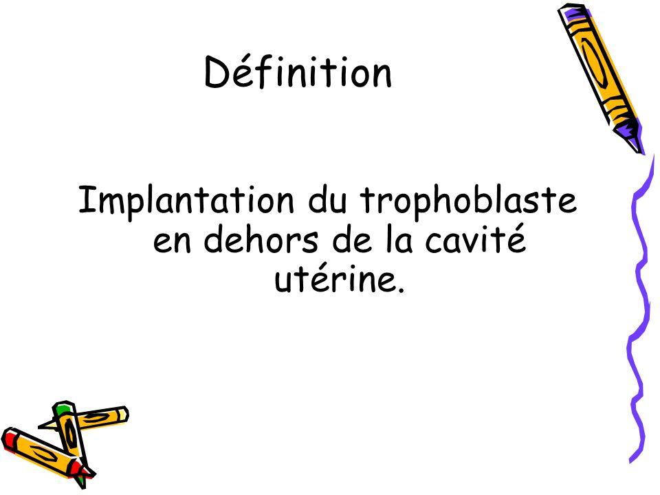 Implantation du trophoblaste en dehors de la cavité utérine.