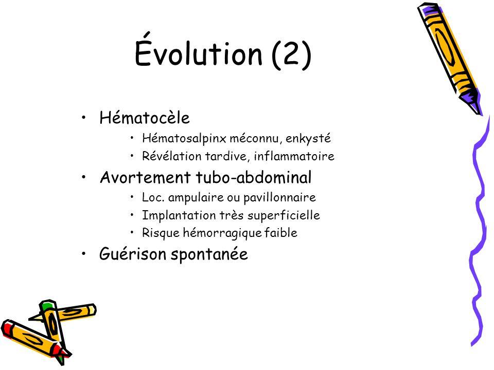 Évolution (2) Hématocèle Avortement tubo-abdominal Guérison spontanée