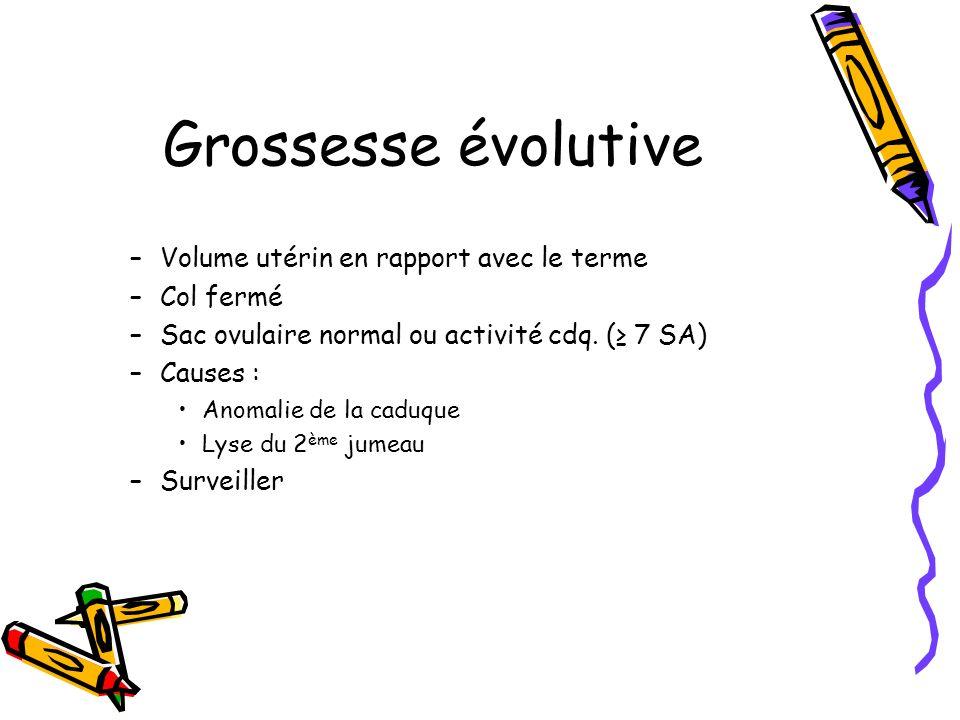 Grossesse évolutive Volume utérin en rapport avec le terme Col fermé