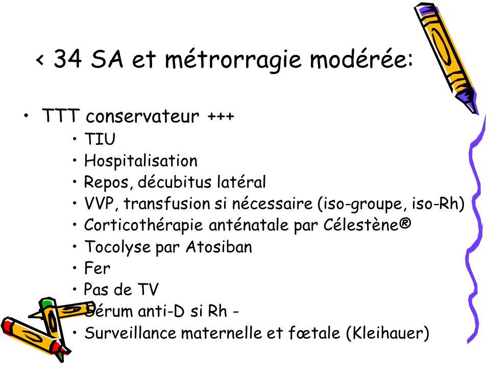 < 34 SA et métrorragie modérée: