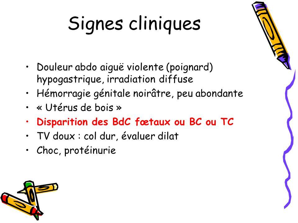Signes cliniquesDouleur abdo aiguë violente (poignard) hypogastrique, irradiation diffuse. Hémorragie génitale noirâtre, peu abondante.