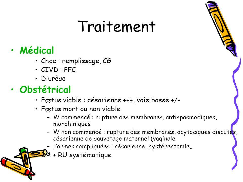 Traitement Médical Obstétrical Choc : remplissage, CG CIVD : PFC