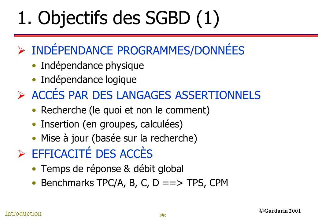 1. Objectifs des SGBD (1) INDÉPENDANCE PROGRAMMES/DONNÉES