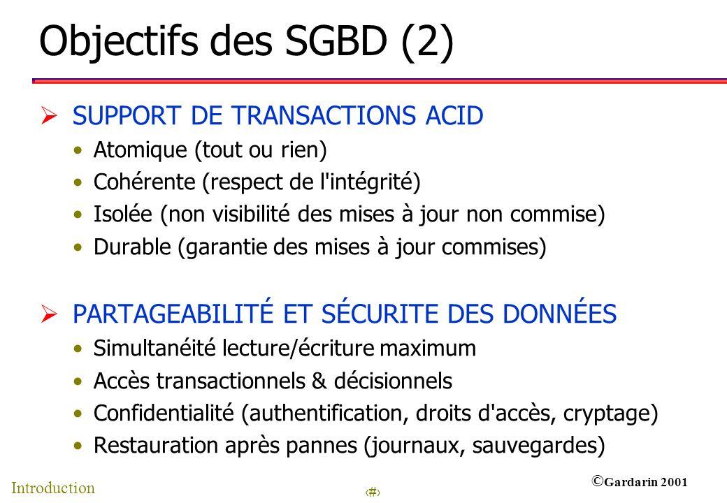 Objectifs des SGBD (2) SUPPORT DE TRANSACTIONS ACID