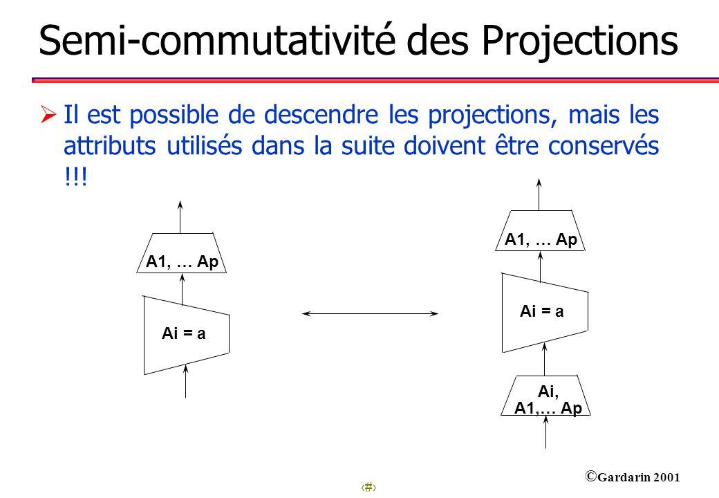 Semi-commutativité des Projections