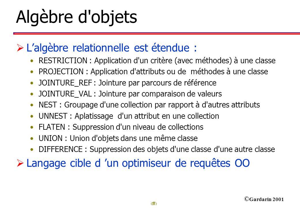 Algèbre d objets L'algèbre relationnelle est étendue :