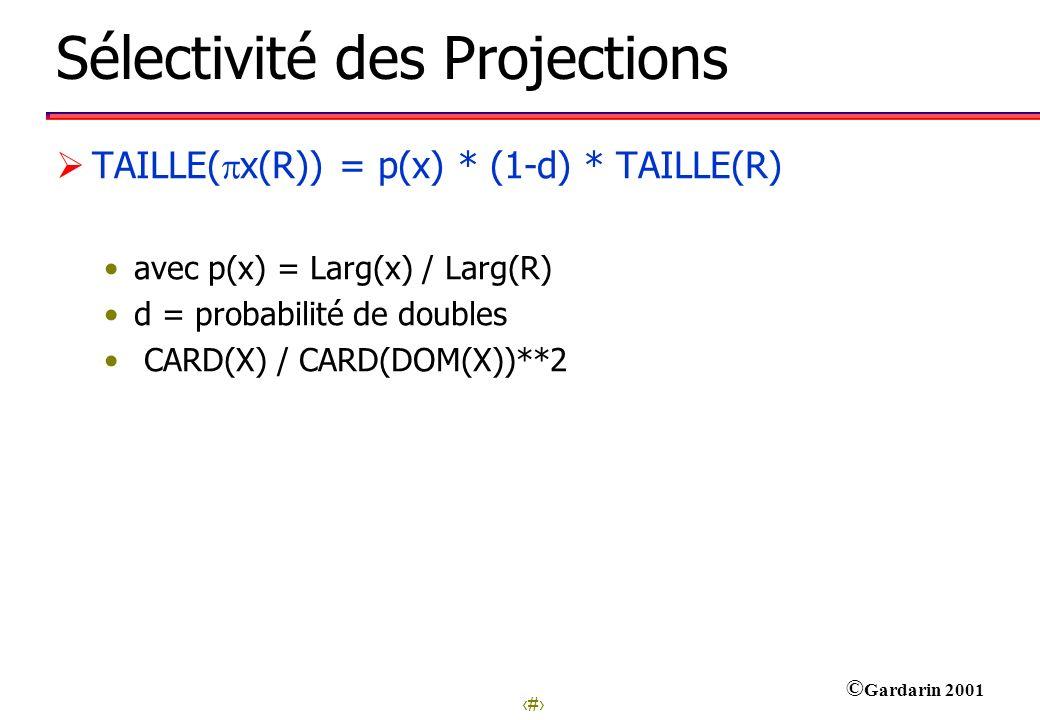 Sélectivité des Projections