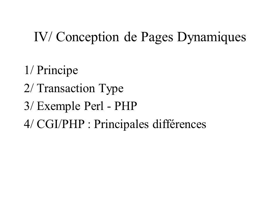 IV/ Conception de Pages Dynamiques
