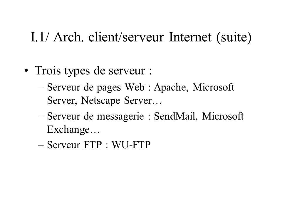 I.1/ Arch. client/serveur Internet (suite)