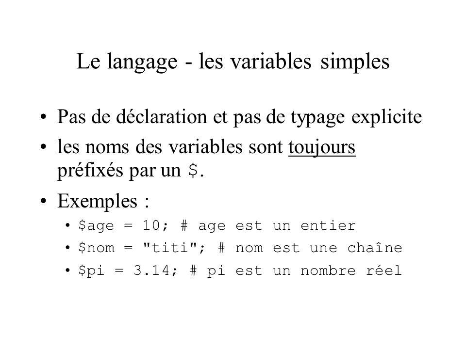 Le langage - les variables simples