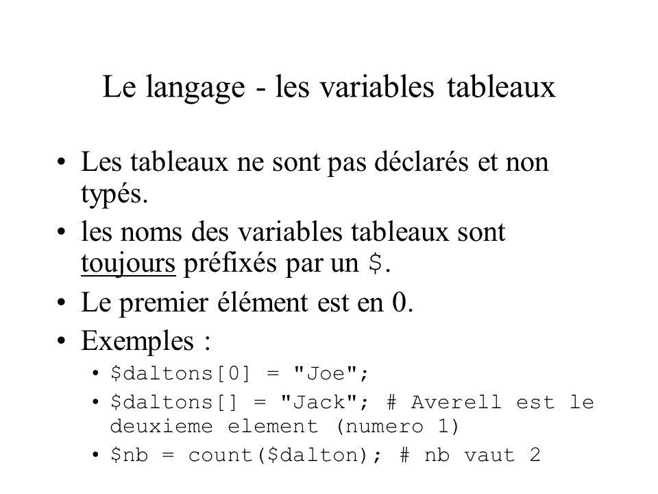 Le langage - les variables tableaux