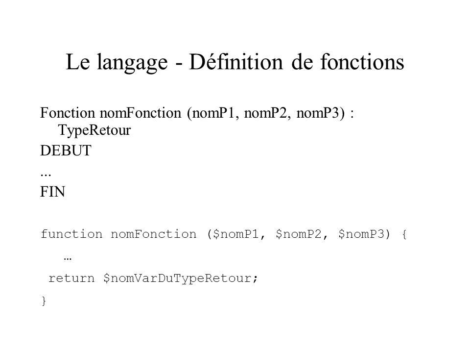 Le langage - Définition de fonctions